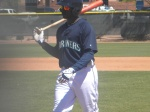 Trayvon Robinson after Hultzen broke his bat