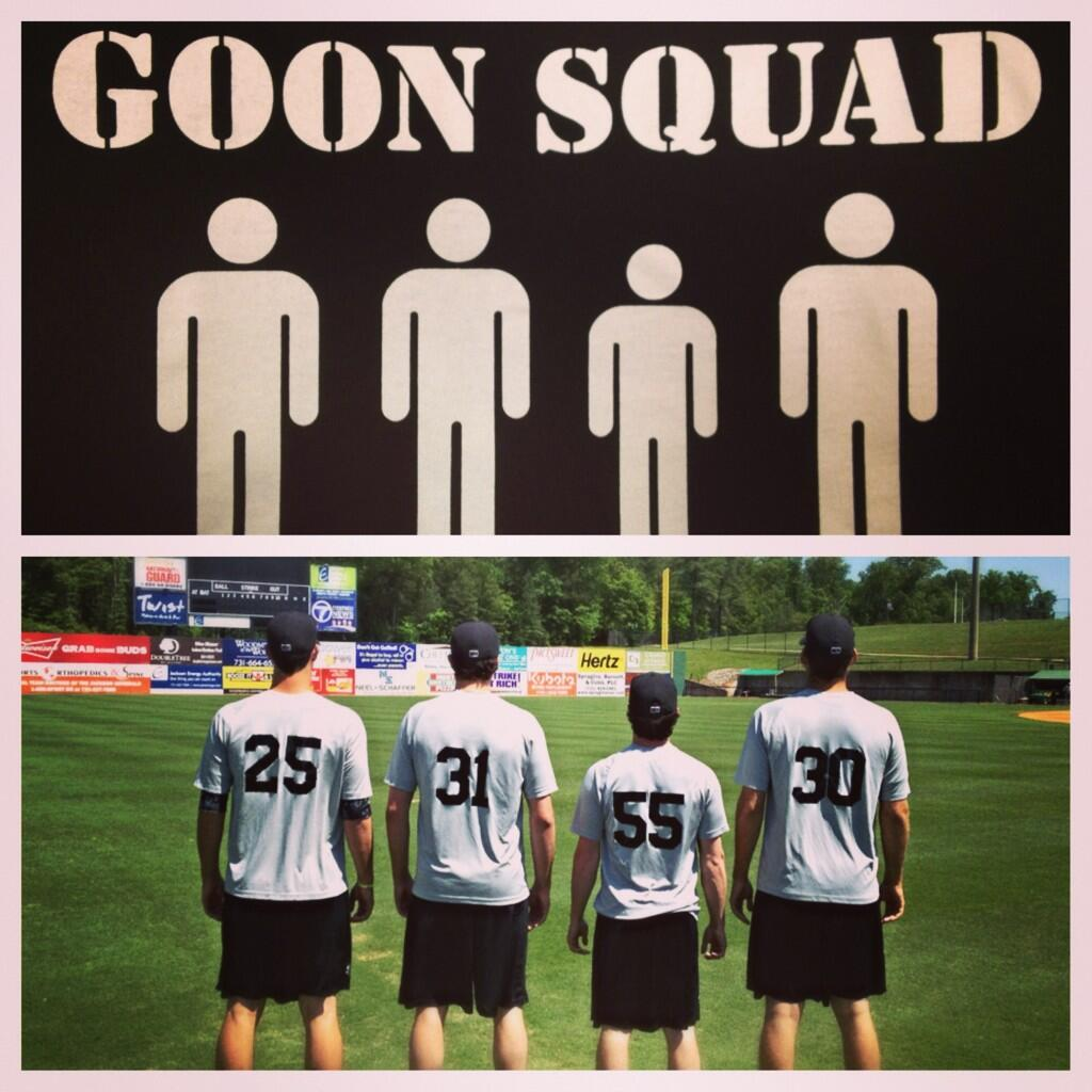 """Forrest Snow, Carson Smith, Tyler Burgoon and Stephen Kohlscheen all members of Jackson's bullpen are nickmaned """"Goon Squad"""". Photo by Chance Ruffin"""