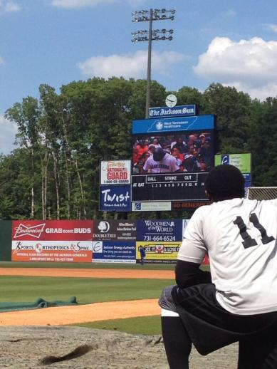 James Jones and all the Generals pause during batting practice Saturday to watch Brandon Bantz' first MLB at-bat.