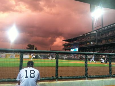 Photo taken by Generals' trainer Eddie Tamaz during the 2nd inning of last night;s game. Storms passing through created a unique sky.