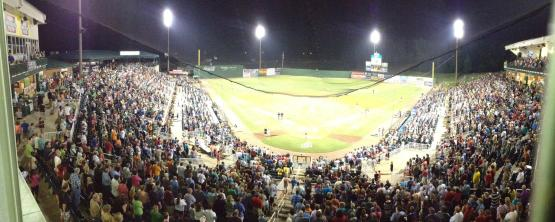 Panoramic view from broadcast booth of last night's crowd of 6,496.