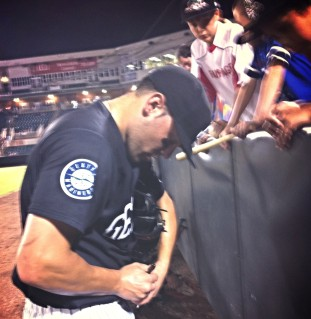 Steven Proscia signs autographs for fans after last night's walk-off winner.