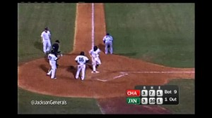 5 seconds later Chris Taylor scores after a wild throw by Lookouts pitcher Steve Smith.